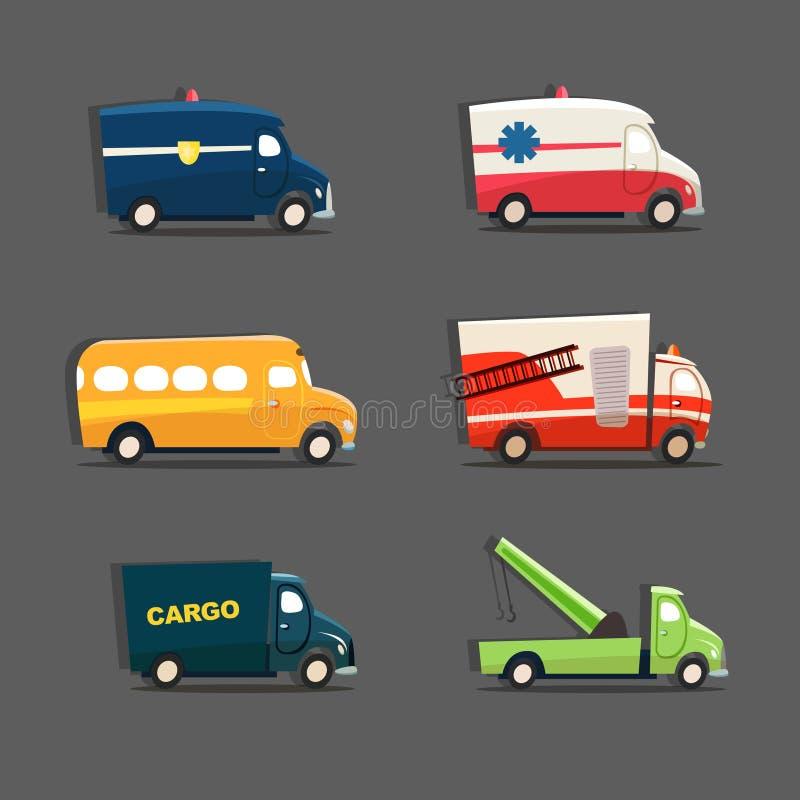 Sistema del vector de vehículos urbanos que ofrecen el coche policía, ambulancia, sc stock de ilustración