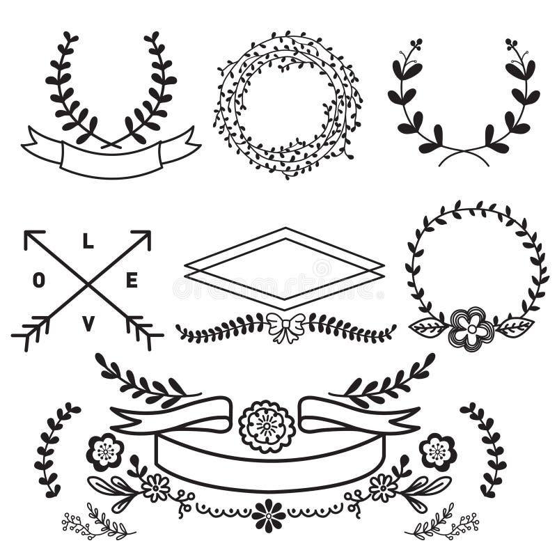 Sistema del vector de vintage floral de los elementos y de las banderas stock de ilustración