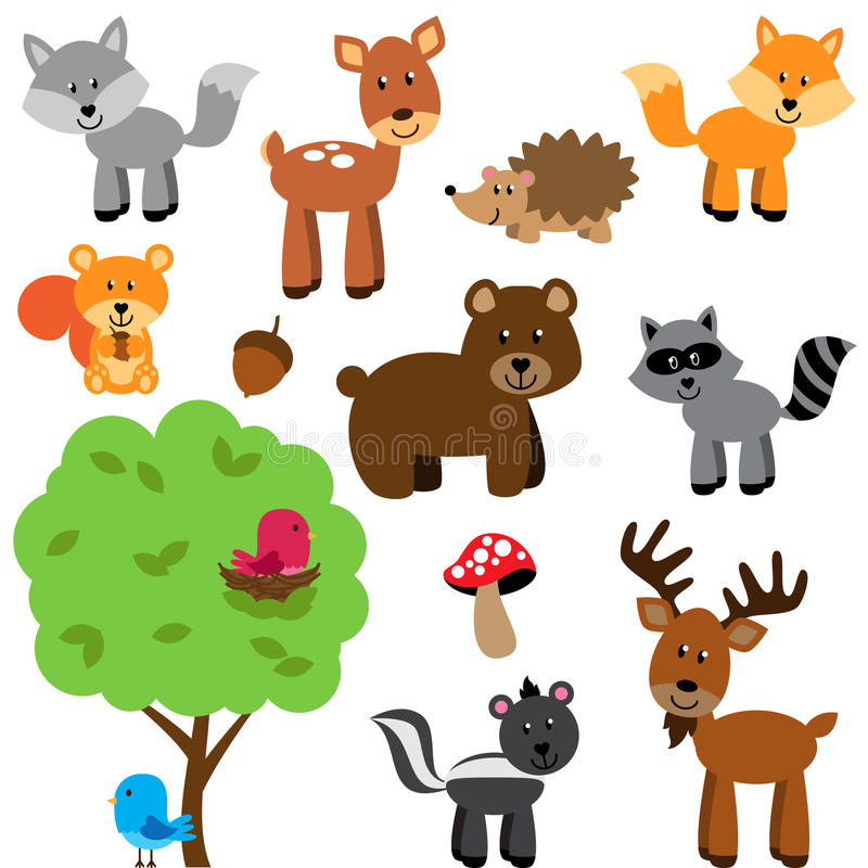 Sistema del vector del arbolado y de Forest Animals lindos libre illustration