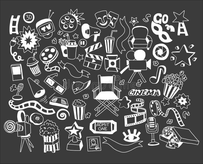 Sistema del vector del cine de los iconos del garabato de la historieta stock de ilustración
