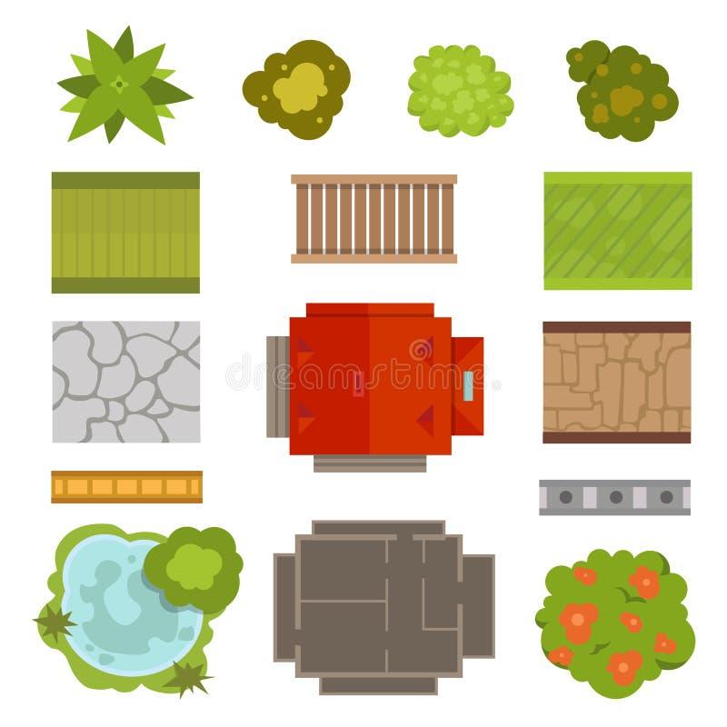 Sistema del vector del constructor del diseño del paisaje stock de ilustración