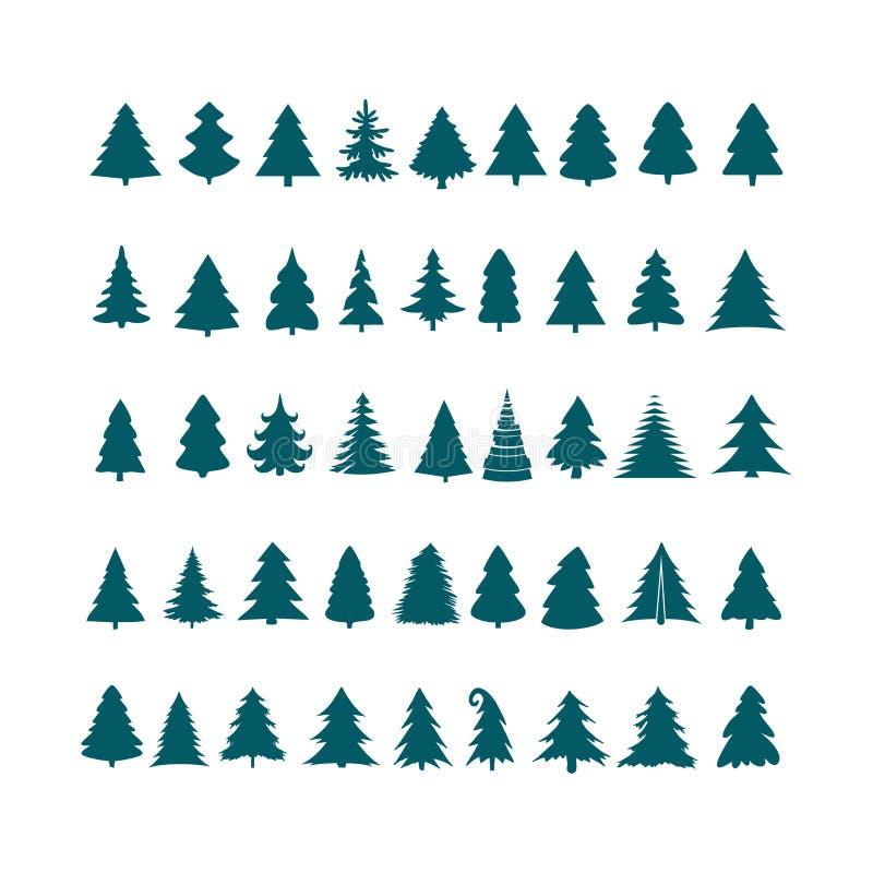 Sistema del vector del diseño de la silueta del árbol de navidad Icono c del árbol del concepto stock de ilustración
