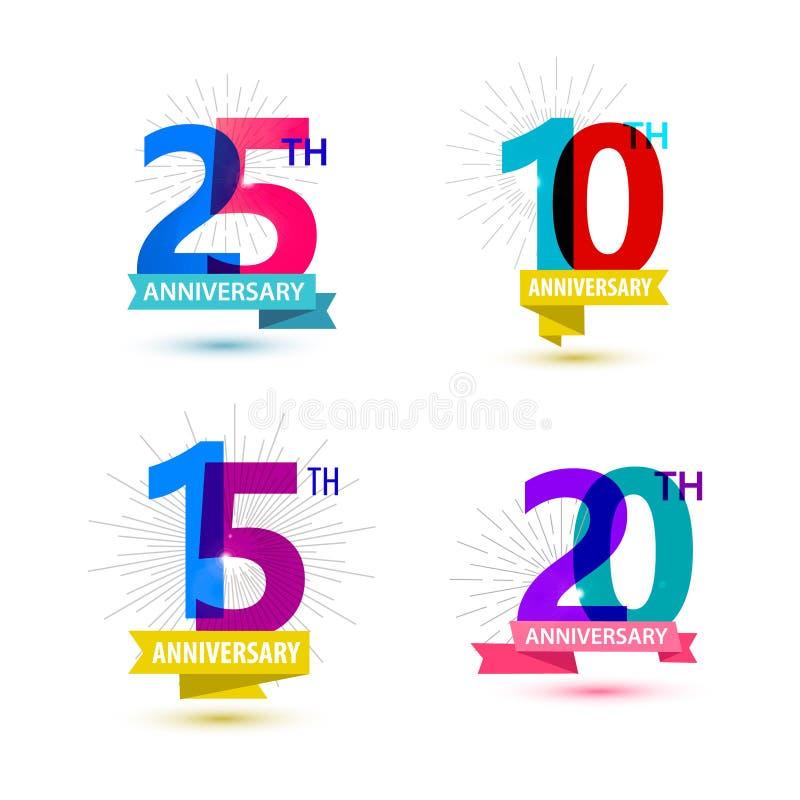 Sistema del vector del diseño de los números del aniversario 25, 10 stock de ilustración