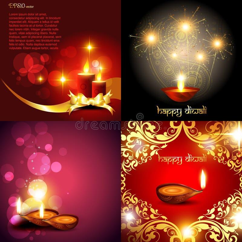 Sistema del vector del ejemplo del fondo del diwali stock de ilustración