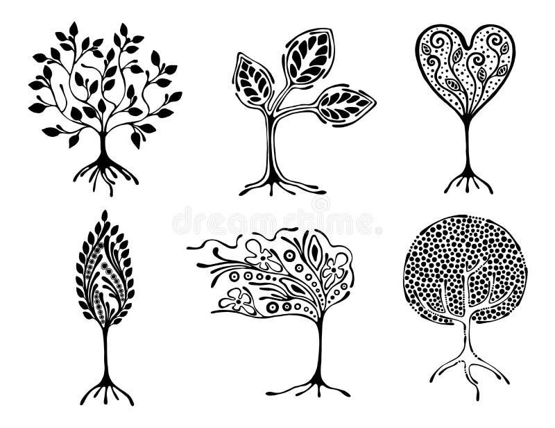 Sistema del vector del ejemplo dibujado mano, árbol estilizado ornamental decorativo Ejemplo gráfico blanco y negro aislado en el libre illustration
