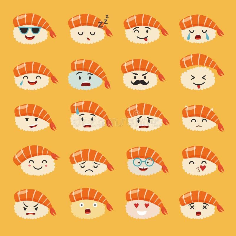 Sistema del vector del emoji del Sashimi Sushi de Emoji con los iconos de las caras stock de ilustración