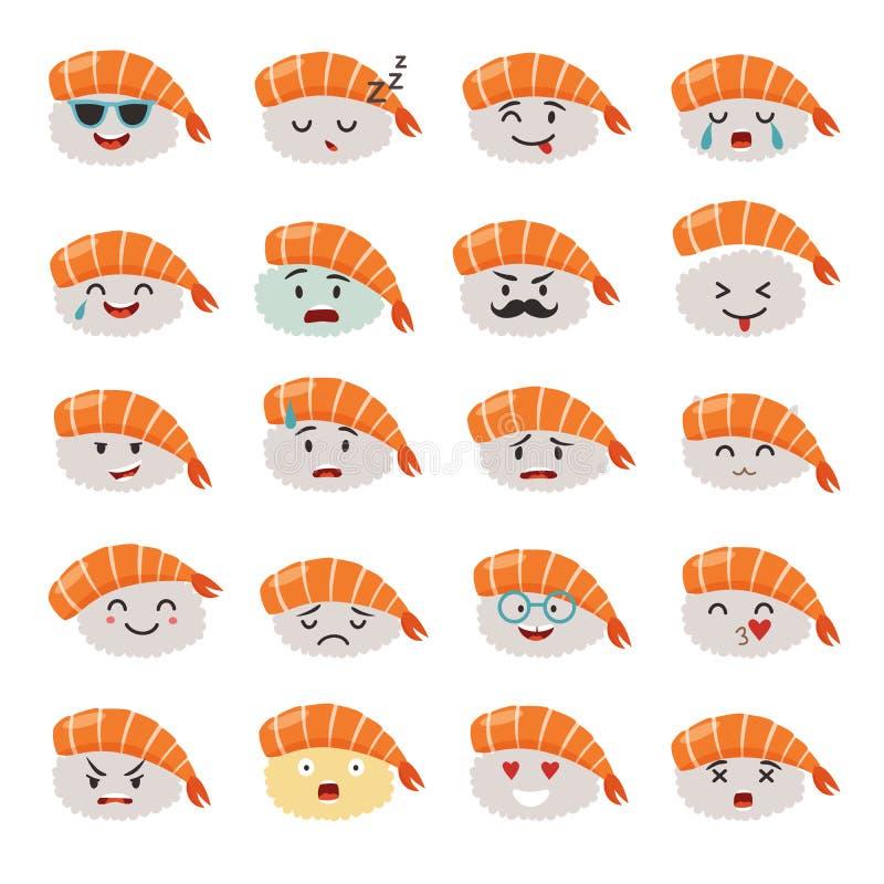 Sistema del vector del emoji del Sashimi Sushi de Emoji con los iconos de las caras ilustración del vector