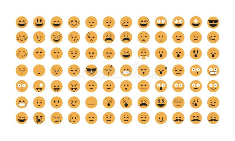 Sistema del vector del emoticon ilustración del vector