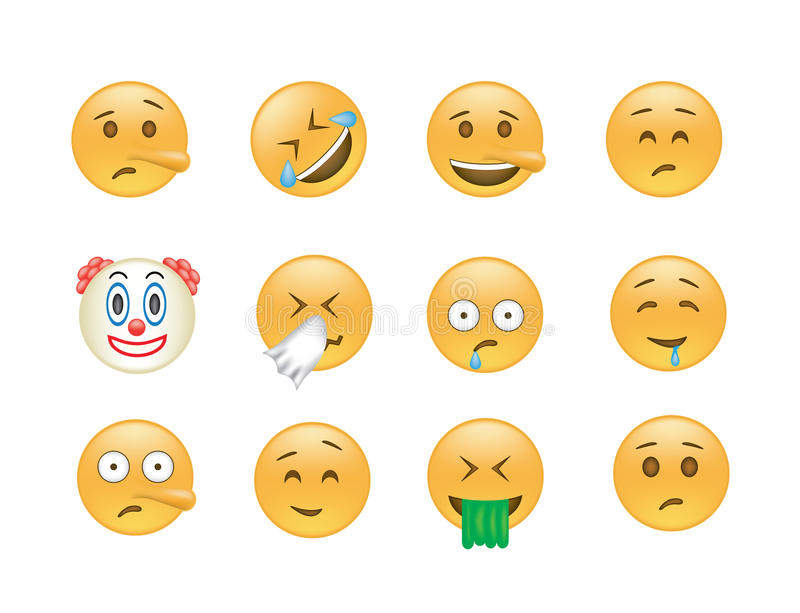 Sistema del vector del emoticon stock de ilustración