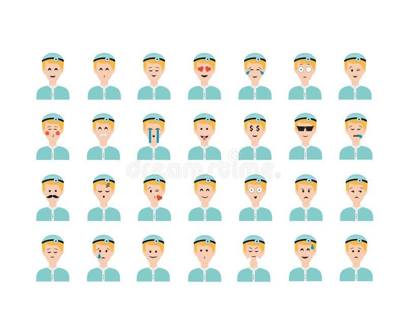 Sistema del vector del emoticon del doctor aislado en el fondo blanco ilustración del vector