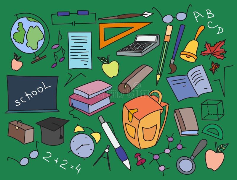 Sistema del vector del garabato de aprendizaje ilustración del vector