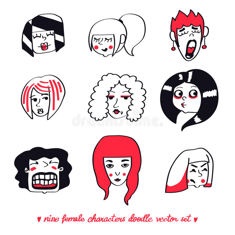 Sistema del vector del garabato de nueve caracteres femeninos stock de ilustración