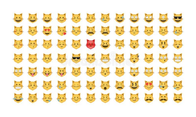 Sistema del vector del gato del Emoticon ilustración del vector
