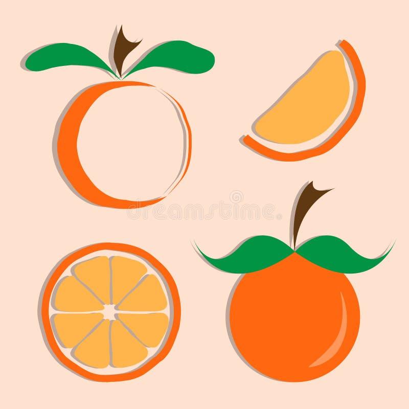 Sistema del vector del icono anaranjado ilustración del vector