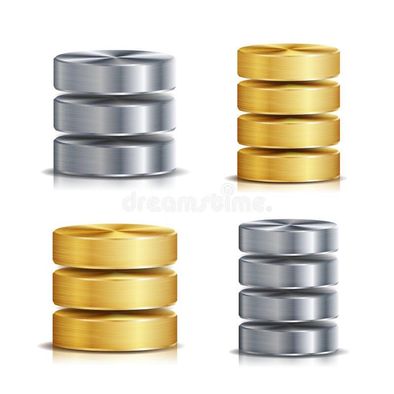 Sistema del vector del icono del disco de la base de datos de red Ejemplo realista del disco duro del ordenador Metal de oro, pla stock de ilustración