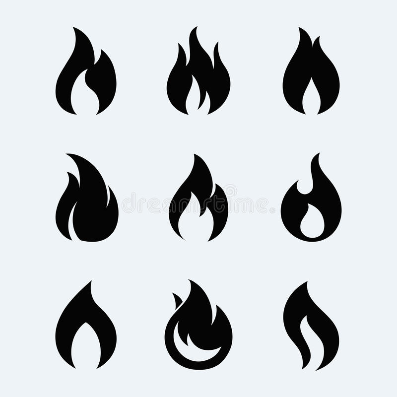 Sistema del vector del icono del fuego stock de ilustración