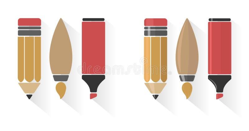 Sistema del vector del lápiz, del cepillo, y del marcador libre illustration
