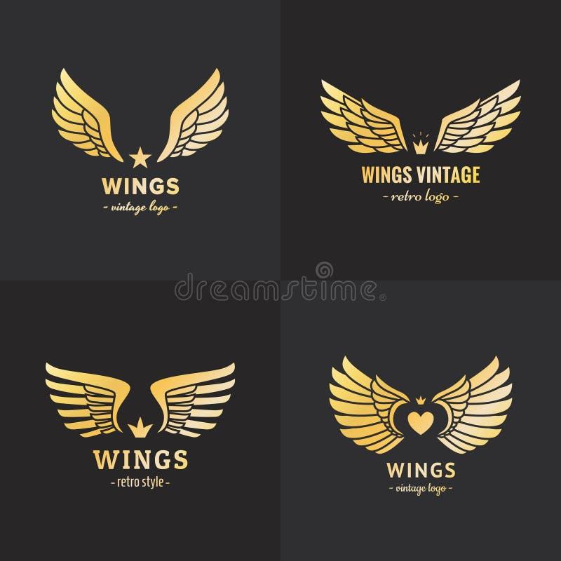 Sistema del vector del logotipo de las alas del oro Diseño del inconformista del vintage Parte una stock de ilustración