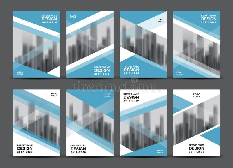 Sistema del vector del negocio, disposición de la plantilla del folleto, diseño azul de la cubierta stock de ilustración