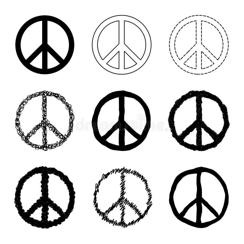 Sistema del vector del símbolo de paz ilustración del vector