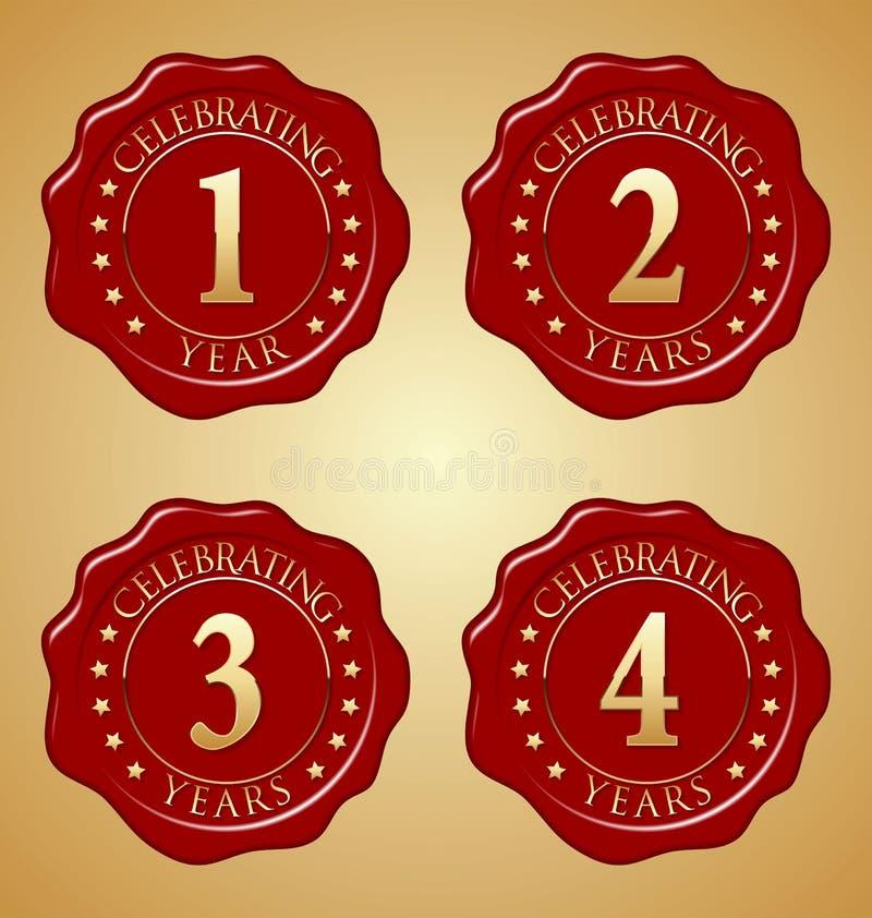 Sistema del vector del sello rojo de la cera del aniversario primero, segundo, tercer, cuarto stock de ilustración
