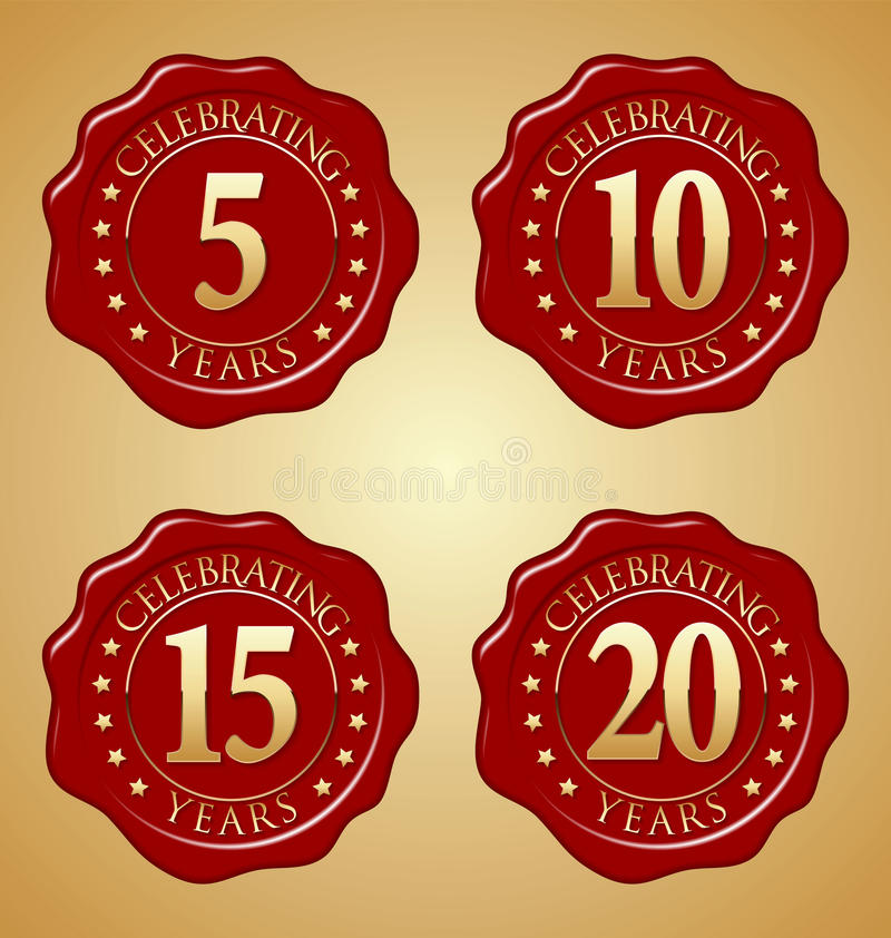 Sistema del vector del sello rojo 5to, 10mo, décimo quinto, vigésimo de la cera del aniversario libre illustration