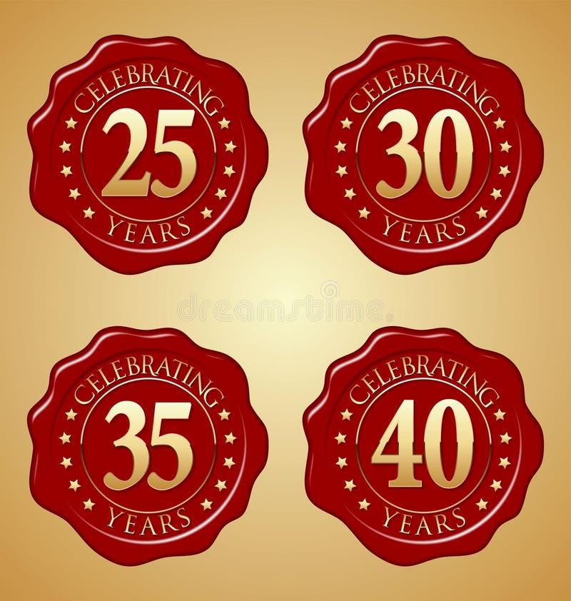 Sistema del vector del sello rojo 25to, trigésimo, 35to, 40.o de la cera del aniversario ilustración del vector