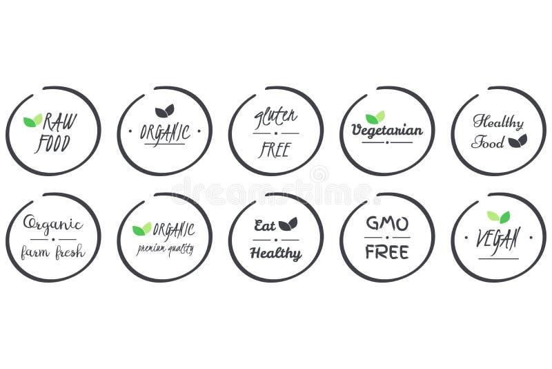 Sistema del vector del sistema de iconos de orgánico, sanos, vegano, vegetariano, crudo, OGM, comida libre del gluten, símbolos g stock de ilustración