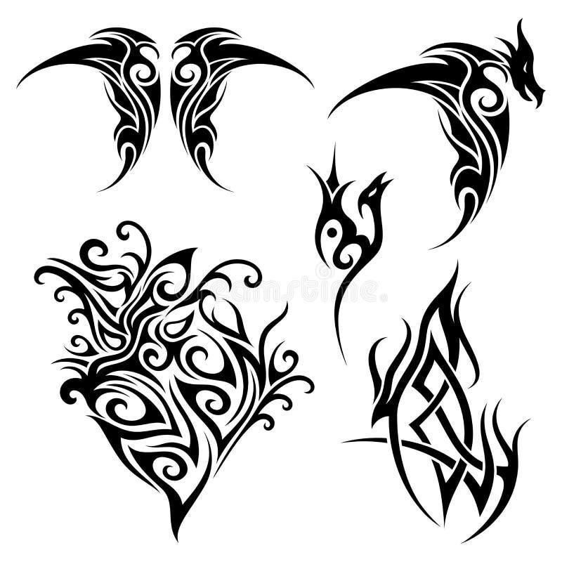 Sistema del vector del tatuaje tribal stock de ilustración