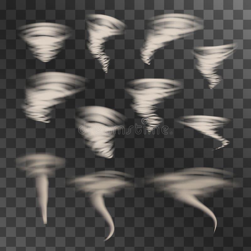Sistema del vector del tornado stock de ilustración