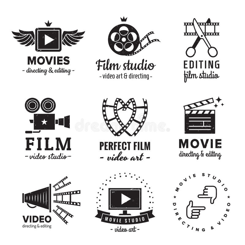 Sistema del vector del vintage del logotipo de la película, de la película y del vídeo r stock de ilustración