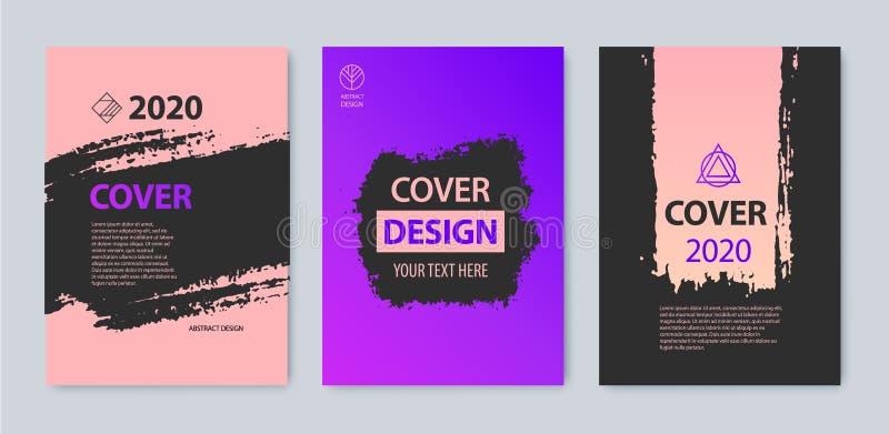 Sistema del vector del diseño de la cubierta del movimiento Púrpura, rosa, colores negros Aviador, folleto, revista, grunge del c libre illustration