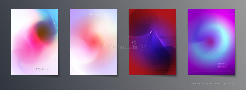 Sistema del vector del diseño flúido colorido abstracto del fondo, de la abstracción, olográfico y de la pendiente de la composic libre illustration