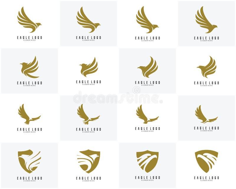 Sistema del vector del diseño del logotipo de Eagle, logotipo del icono de Eagle stock de ilustración