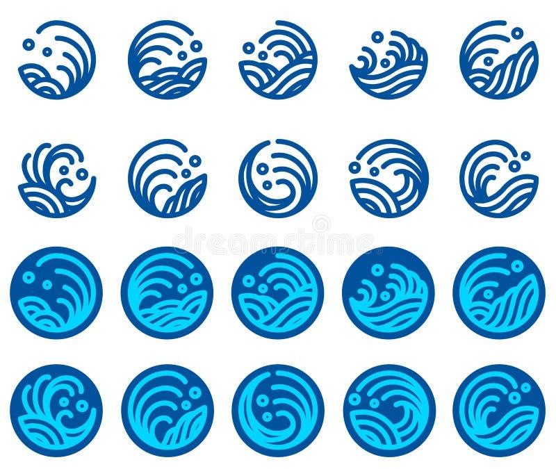 Sistema del vector del diseño del logotipo de la onda de agua libre illustration