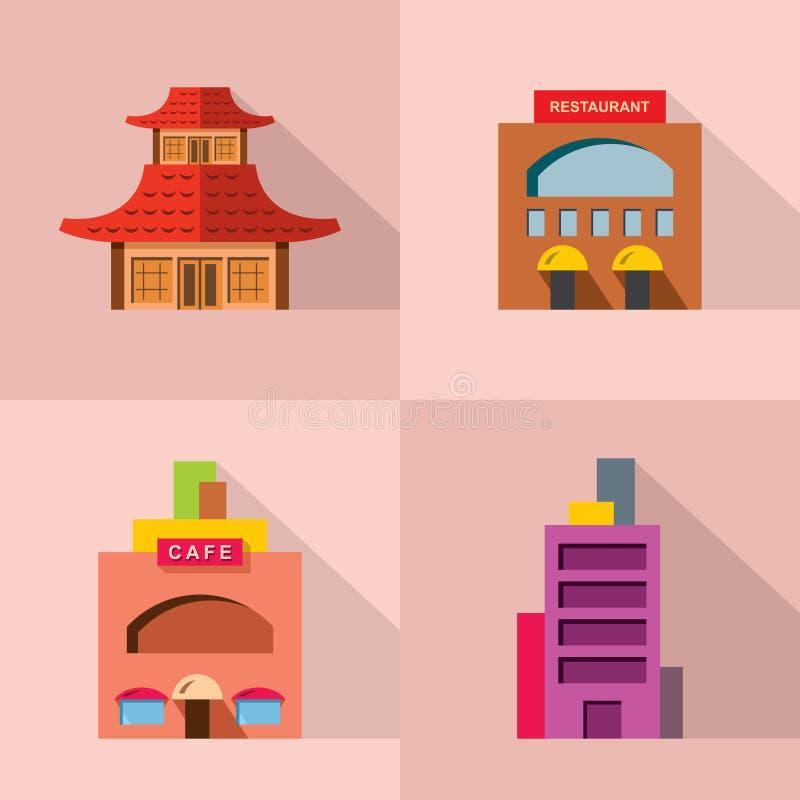 Sistema del vector del diverso icono del edificio ilustración del vector