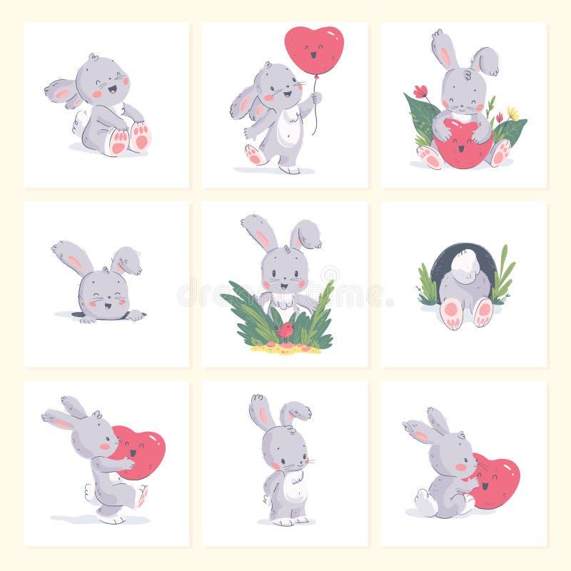 Sistema del vector del ejemplo exhausto de la mano del pequeño conejo lindo del bebé con el globo de la forma del corazón aislado stock de ilustración
