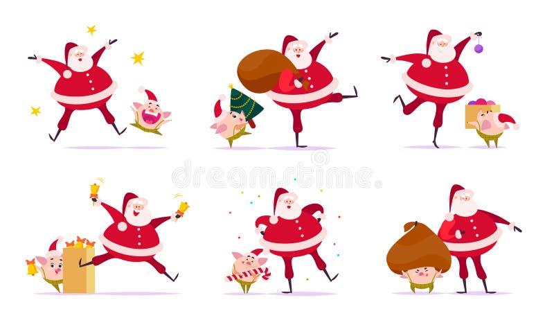 Sistema del vector del ejemplo plano de la Feliz Navidad con Santa Claus y los compañeros lindos del duende del cerdo en diversas ilustración del vector