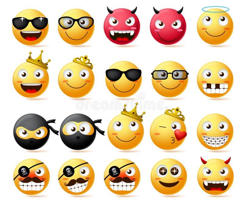 Sistema del vector del Emoticon Cara sonriente y emoji amarillo de la corona que lleva del rey y de la reina, del ninja y del pir stock de ilustración