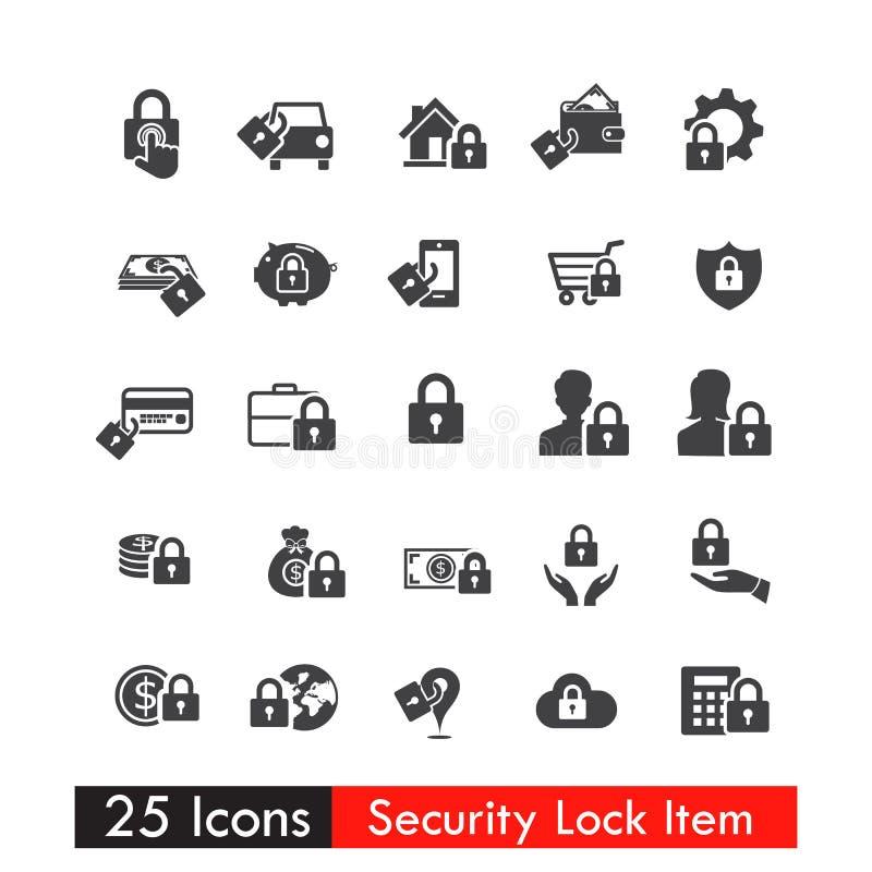 Sistema del vector eps10 del concepto de la cerradura de seguridad de 25 iconos ilustración del vector