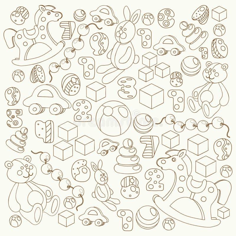 Sistema del vector del estilo de la historieta del esquema de los juguetes de los niños libre illustration