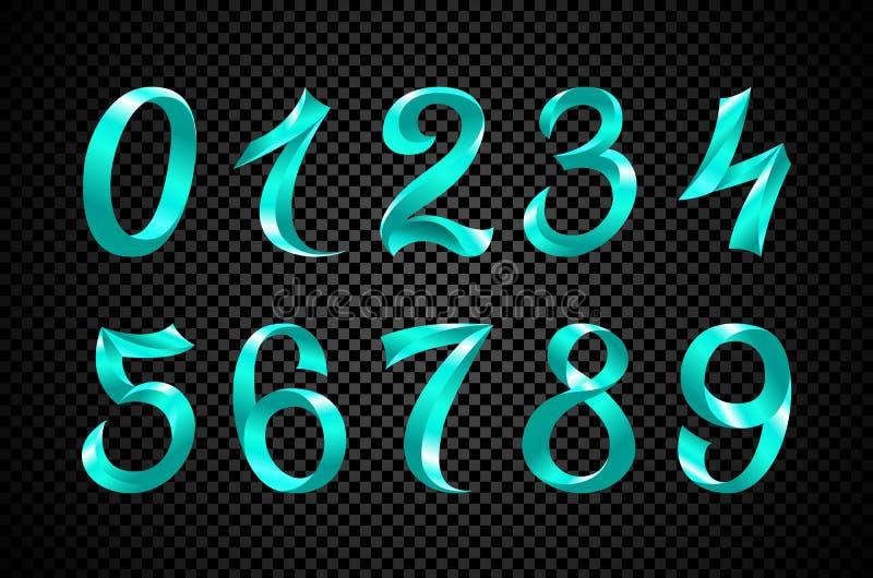 Sistema del vector festivo de los dígitos de la cinta azul diseño geométrico del número iridiscente de la pendiente en fondo negr ilustración del vector