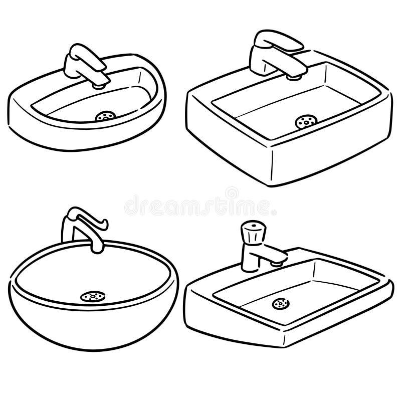 Sistema del vector del fregadero stock de ilustración
