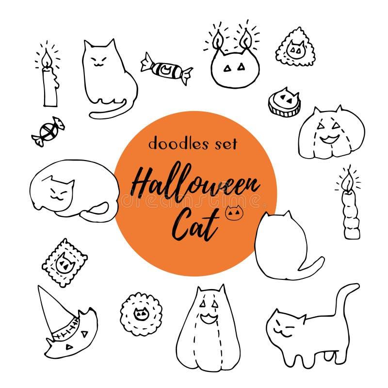Sistema del vector del gato de Halloween Garabatos dibujados mano de la tinta de gatos, de calabazas, de sombreros, de galletas,  ilustración del vector
