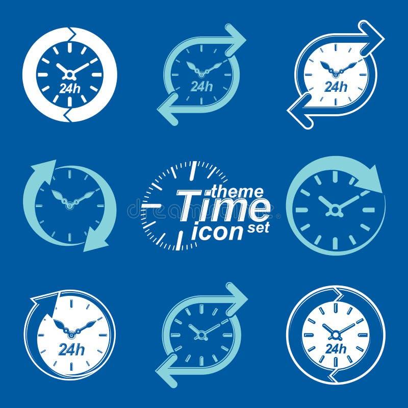 Sistema del vector gráfico del web 24 horas de contadores de tiempo, plano noche y día stock de ilustración