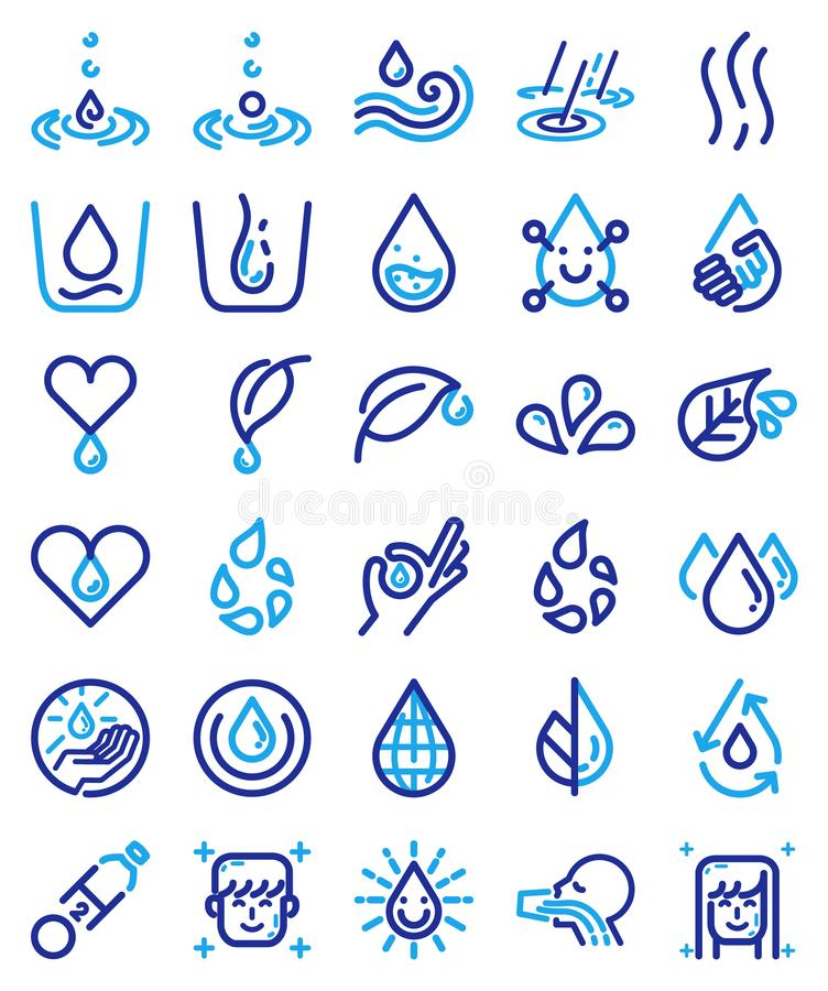 Sistema del vector del icono del agua potable libre illustration