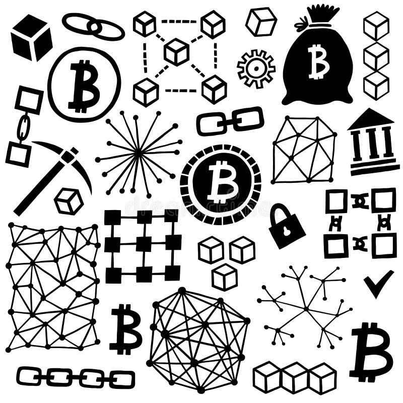 Sistema del vector del icono de Blockchain Símbolos de Cryptocurrency libre illustration