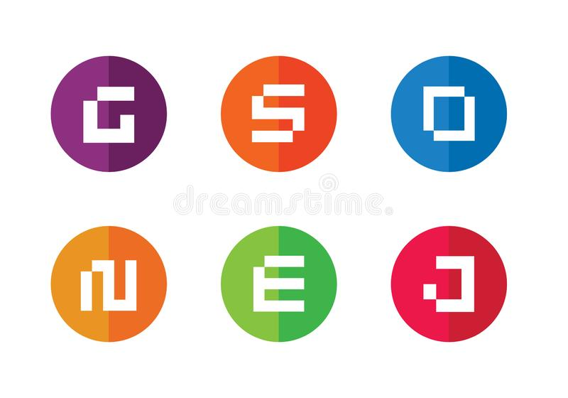 Sistema del vector del logotipo de la letra de Digitaces Alfabeto G, S, D, O, N, E, J Dise?o plano del icono ilustración del vector
