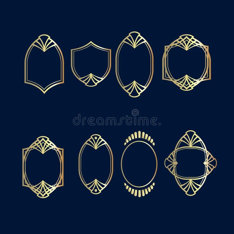 Sistema del vector del marco del deco de AR Marco decorativo de oro Elemento del monograma Ornamento del dise?o ilustración del vector