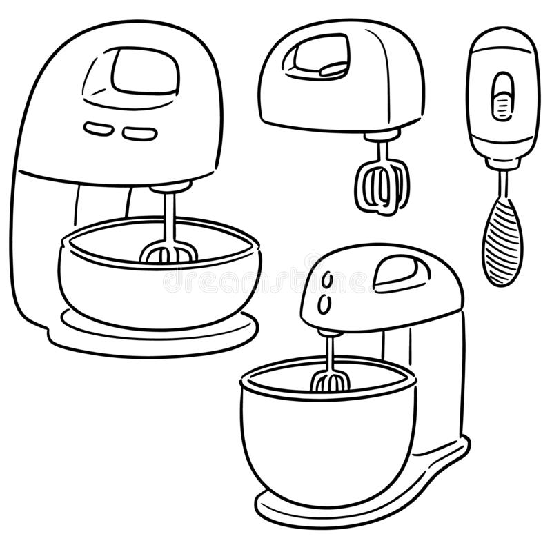 Sistema del vector del mezclador de la torta ilustración del vector